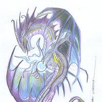 dragon en lapices de colores