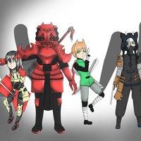 un diseños antiguos de los personajes. de bley el destructor