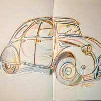 Draw with magic pencil the 2cv.