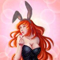 Redhead bunny girl