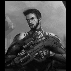 Sketch blanco y negro soldado