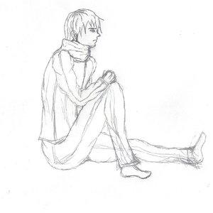 boceto de personaje pensativo