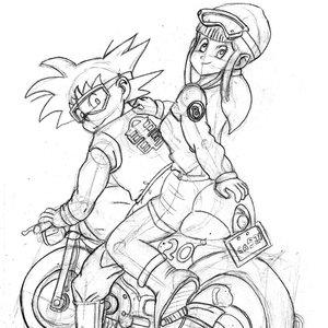 Goku y Bulma (dibujo con estructura)