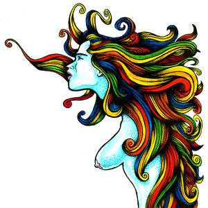 Sirena de cabello multicolor