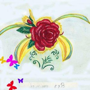 rosa roja y colores
