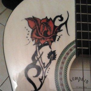 Rosa en guitarra, pintada*