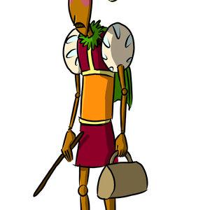 Diseño comic: flautista de madera