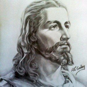Retrato a lápiz. Jesucristo.