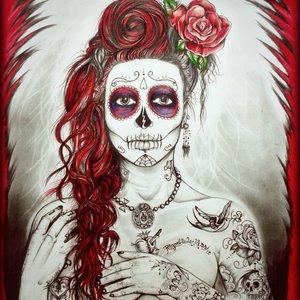 catrina red skull rose