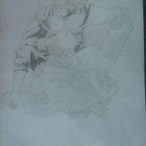 Kakashi y Naruto en proceso