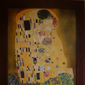 El beso de Klimt, óleo