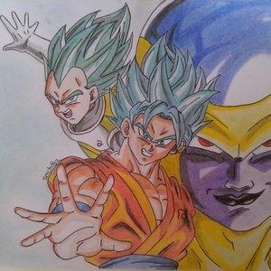 Goku y vegeta ssj dios blue y golden freezer