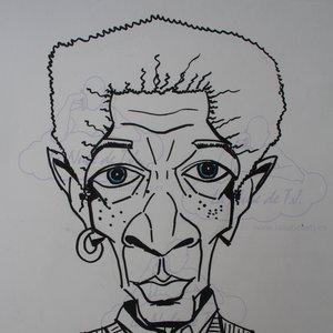 Caricatura de Morgan Freeman minimalista