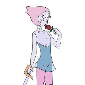 Pearl con una rosa y una espada