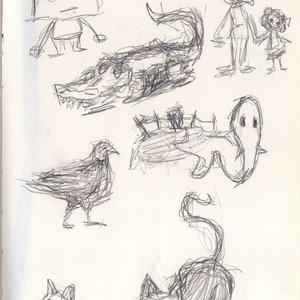 Bocetos de mano izquierda.