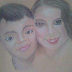 Retrato de una amiga con su hijo