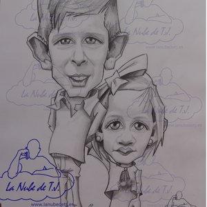 Caricatura por encargo a lápiz hermanos