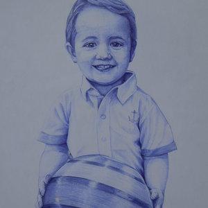 Retrato a boligrafo , niño con pelota