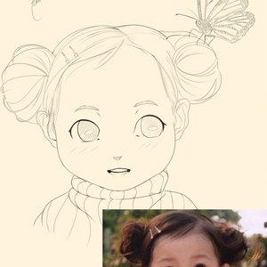 lineart  anime retrato