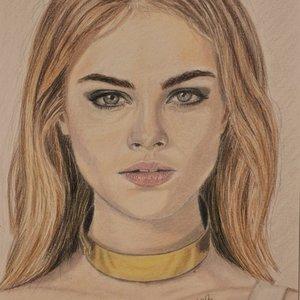 Retrato con lápices de colores
