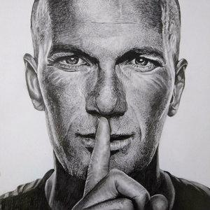 Retrato a lápiz  Zinedine Zidane