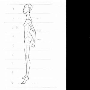Cómo dibujar figurín de moda de perfil paso a paso. Canon proporción 8 cabezas