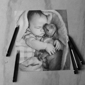 Retrato de Bebe y su perrito