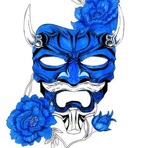 mascara azul