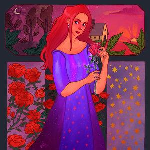 La dama de la rosa - Ilustración digital