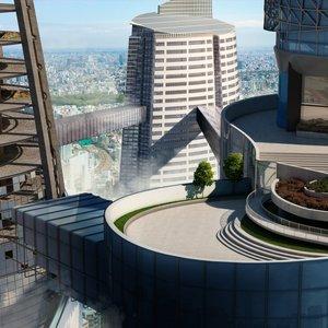 Contemporáneo Sky Scene Exterior High-Rise paisajismo Vista por 3D Architectural Desi