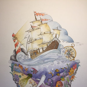 Ink and watercolors on the sea