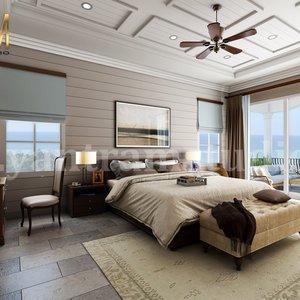 Dormitorio principal con balcón de especies Servicios de representación de interiores