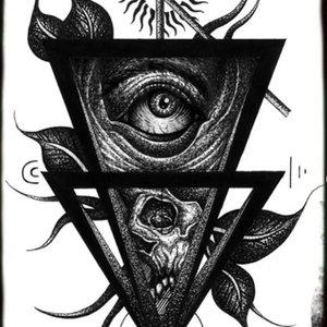 Ojo y Calavera (blackwork)