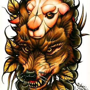 Lobo vestido de oveja (neo tradicional)