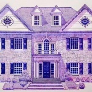 Mansión en tinta violeta