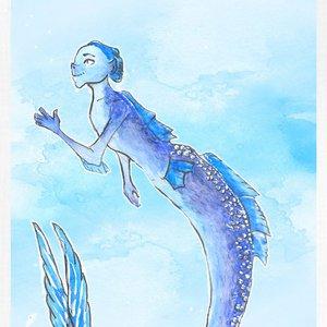 Ilustración con acuarelas // Hombre pez (sireno)