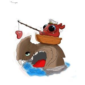monstruo pescando