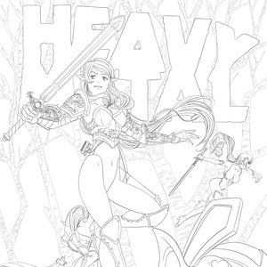 heavy metal lineart magazine cover