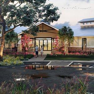 Clásico residencial residencial exterior, calle, casa y piscina vista 3D servicios de