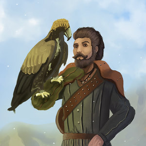 Man with eagle
