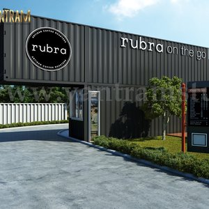 Rubra Coffee Shop 3D Diseño exterior por Yantram Architectural Visualization Studio