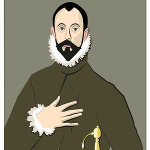El Caballero de la mano en el pecho. (El Greco 1578-1580) - (Vectores).