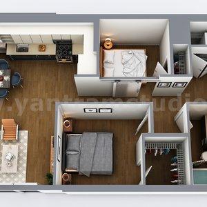 Diseño de plano virtual 3D de casa residencial, Sevilla - España