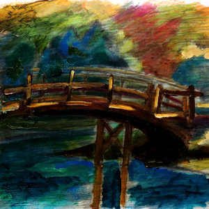 Bridge n garden.COLOR OLEO.