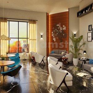 salón restaurante de la firma de diseño de interiores 3d por estudio de visualización
