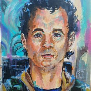Retrato fan art de Bill Murray, Ghostbusters!! en acrilico.