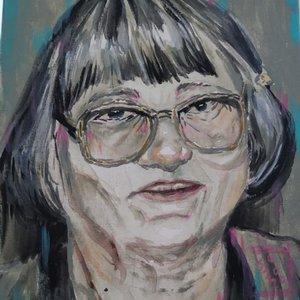 Retrato en acrilicos de mi abuela.