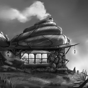 shell hut b&w