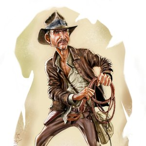 Boceto y caricatura Indiana Jones