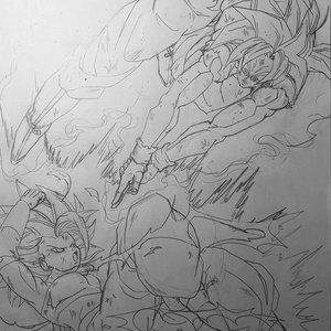Goku Vs Caulifla (Boceto)